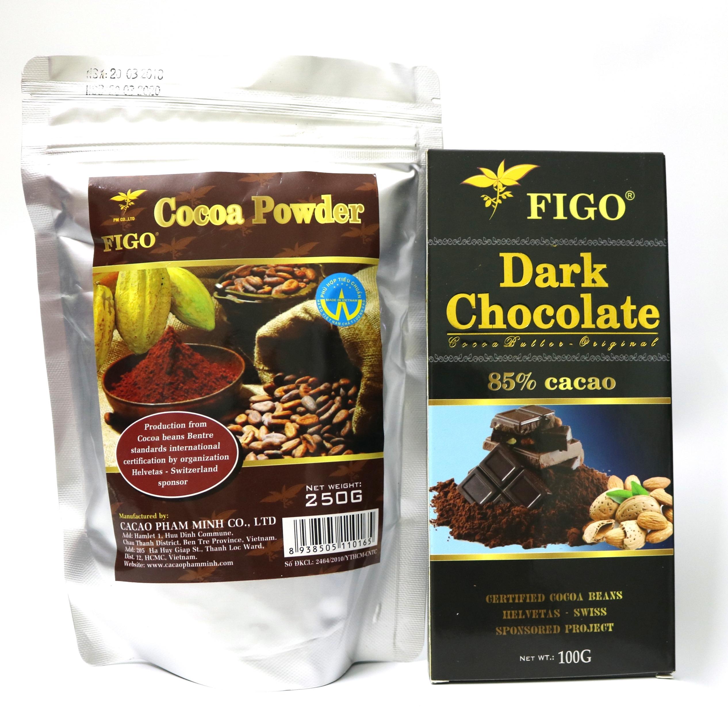 Combo Bột cacao nguyên chất 250g và Socola đen đắng 85% cacao 100g Figo - 968523 , 6426174018162 , 62_2340259 , 169000 , Combo-Bot-cacao-nguyen-chat-250g-va-Socola-den-dang-85Phan-Tram-cacao-100g-Figo-62_2340259 , tiki.vn , Combo Bột cacao nguyên chất 250g và Socola đen đắng 85% cacao 100g Figo