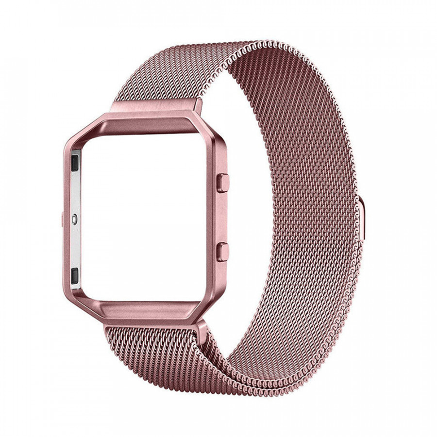 KNS-7 Magnetic Loop Stainless Steel Strap Watch Band for Fitbit Blaze Tracker with Frame Large Replacement Band - Rose Gold