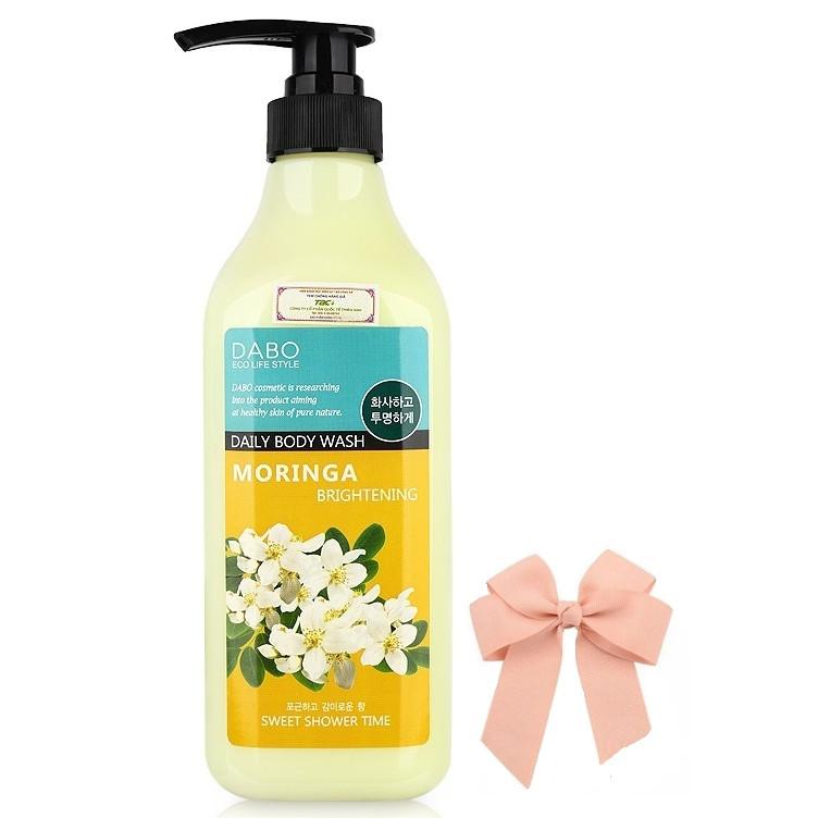 Sữa tắm sạch nhờn hương thơm mát chiets xuất hoa chùm ngây DABO hàn quốc ( 750ml) và kẹp nơ