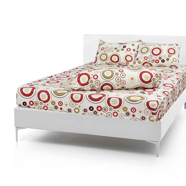 Bộ Drap Cotton Vải Thắng Lợi Áo Gối Chần Gòn 1,6x 2m bi đỏ nền kem