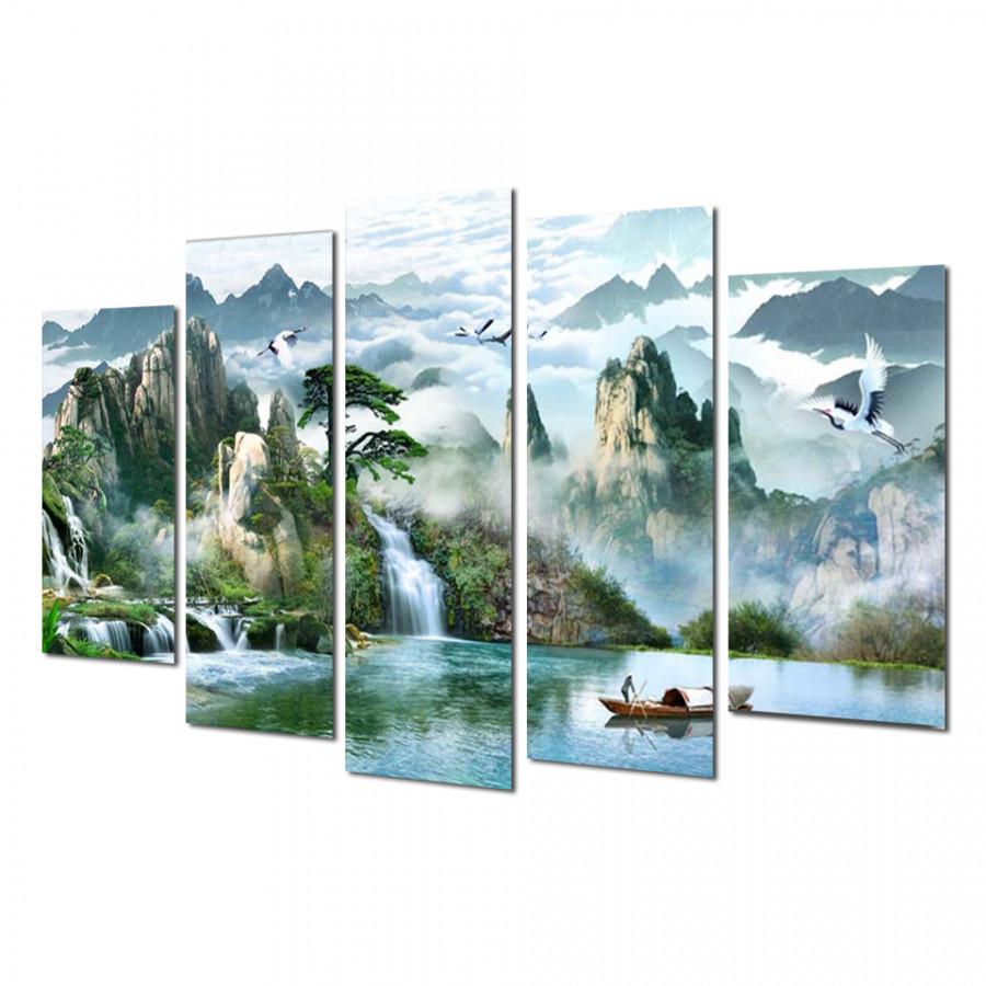 Tranh treo Tường 3D Thác nước sơn thủy ST905157- Khung tranh treo tường