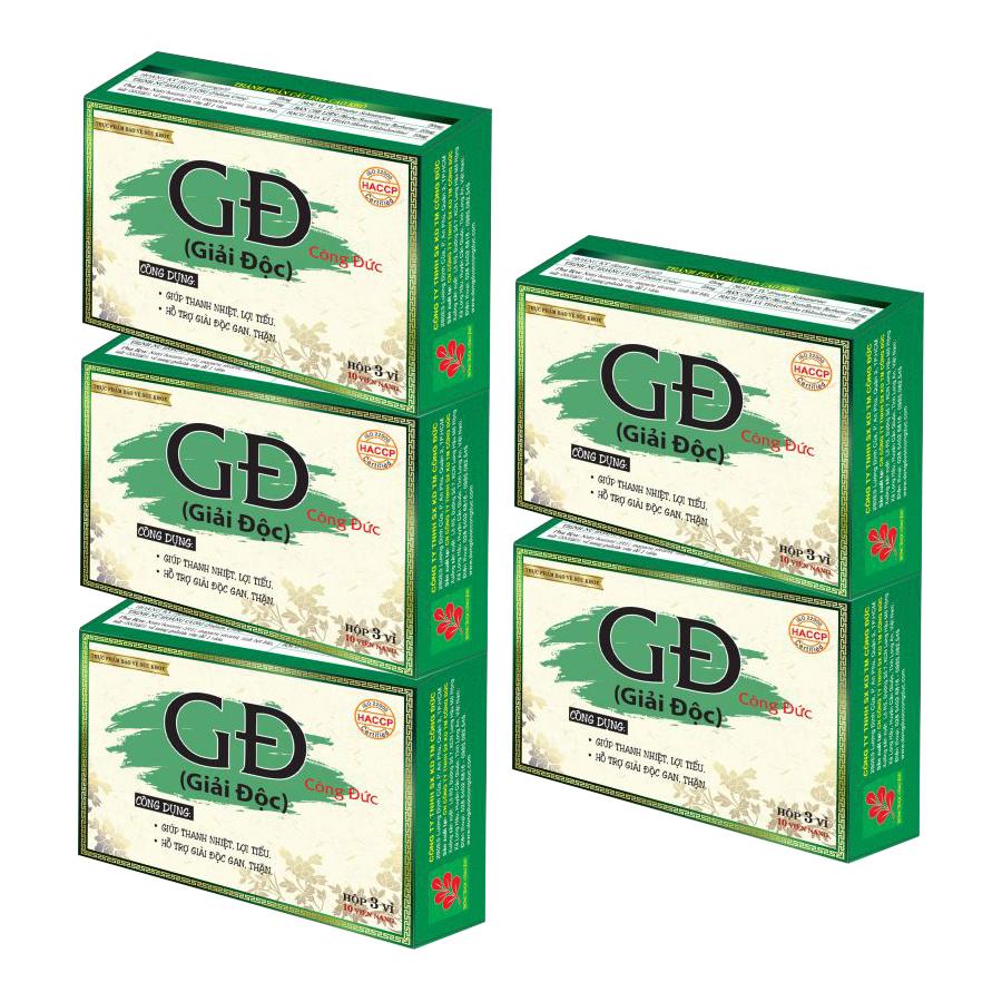 Combo 5 hộp Giải độc Công Đức thanh nhiệt, lợi tiểu, giải độc gan