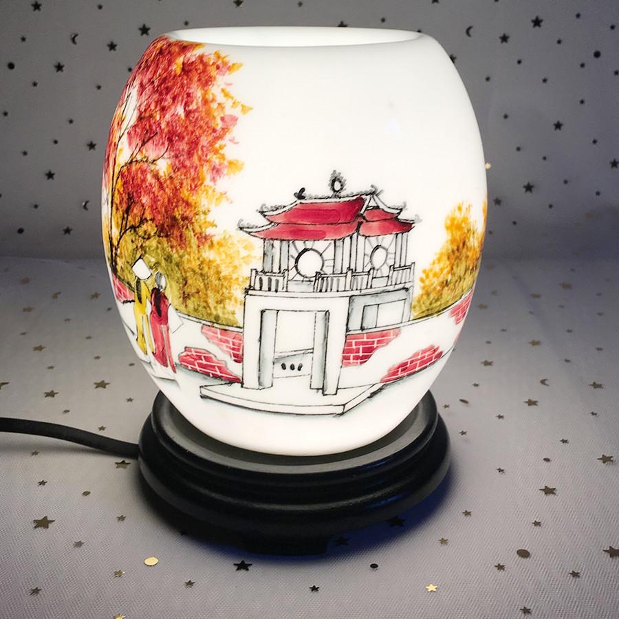 Đèn xông tinh dầu điện bằng gốm tráng men loại to, họa tiết Khuê Văn Các
