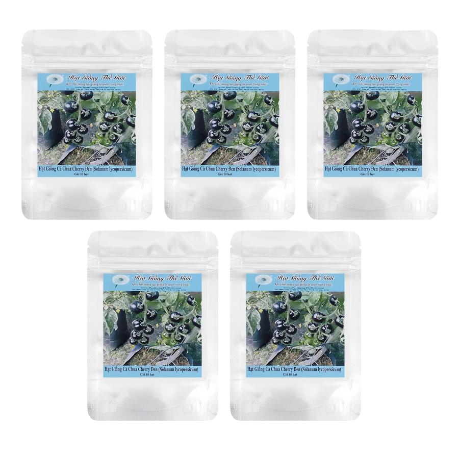 Bộ 5 túi Hạt Giống Cà Chua Cherry Đen 100gr (Solanum lycopersicum) (10 hạt / túi)