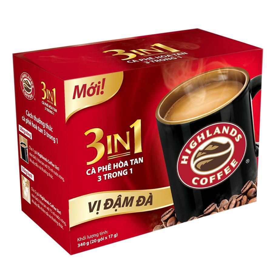 Cà Phê Highlands Coffee 3in1 Hòa Tan (20 Gói x 17g)