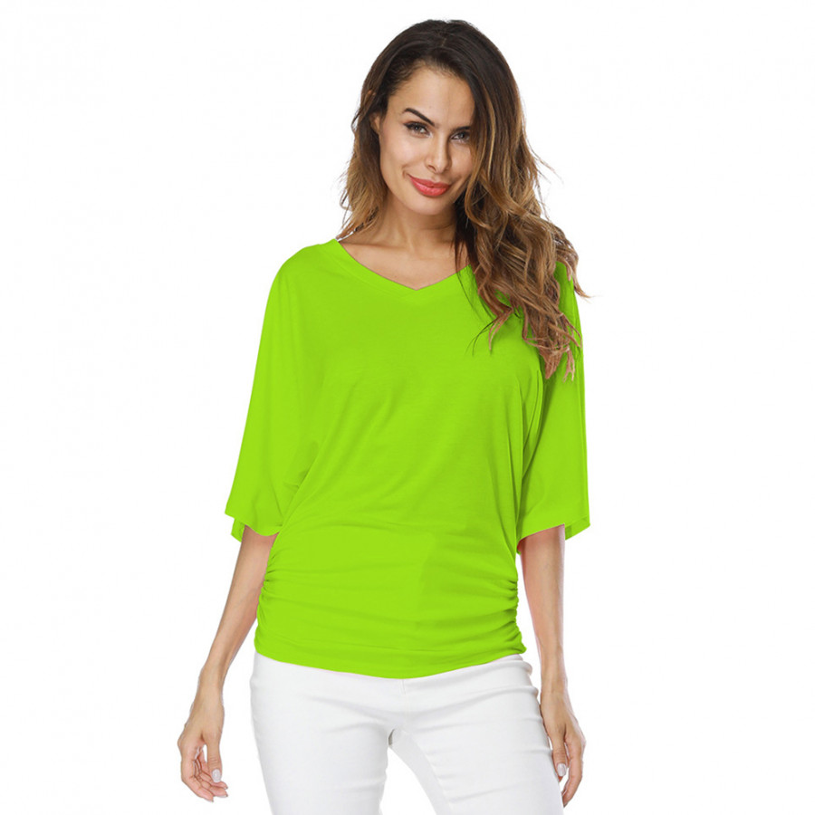 New Women Loose T-shirt Ruched V-Neck Batwing Short Sleeves Solid Casual Top - 9867218 , 8113004349258 , 62_19357691 , 261000 , New-Women-Loose-T-shirt-Ruched-V-Neck-Batwing-Short-Sleeves-Solid-Casual-Top-62_19357691 , tiki.vn , New Women Loose T-shirt Ruched V-Neck Batwing Short Sleeves Solid Casual Top
