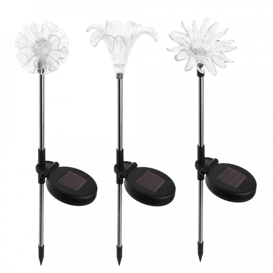 3 Pack Solar LED Lights Outdoor Garden Stake Lights for Lawn Patio Backyard Multicolor Changing Dandelion + Lily +
