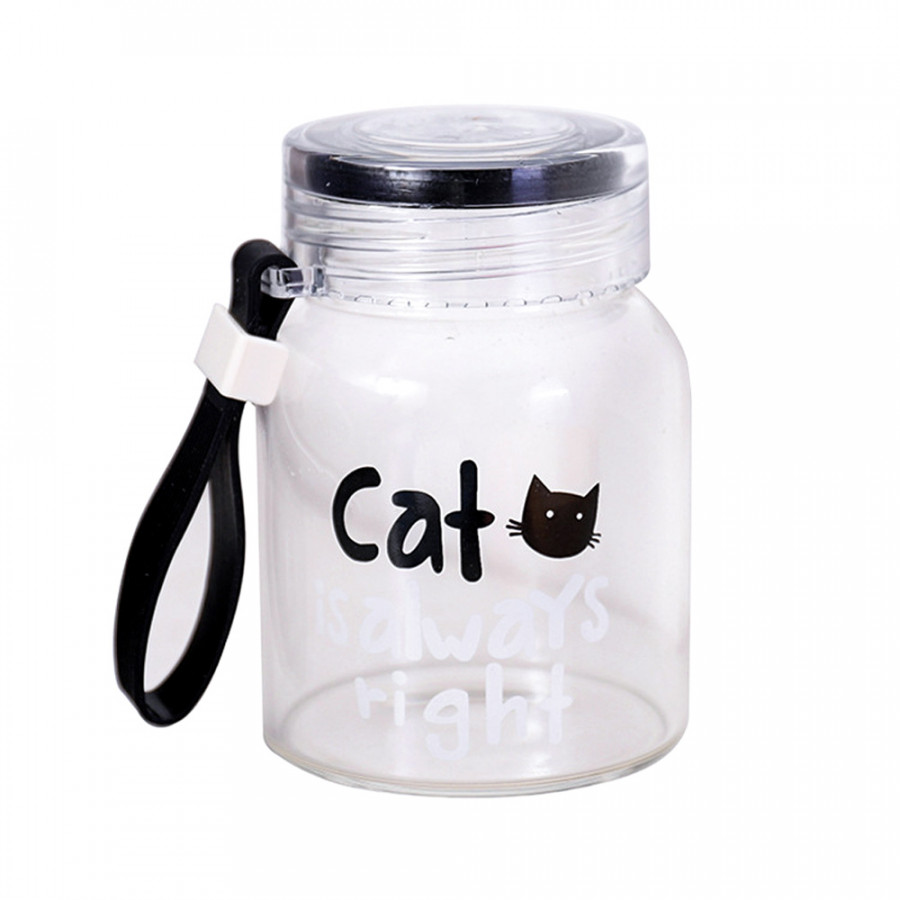 Glass Cup Hand Cup Cartoon Cat Pattern 300ml Container Bar