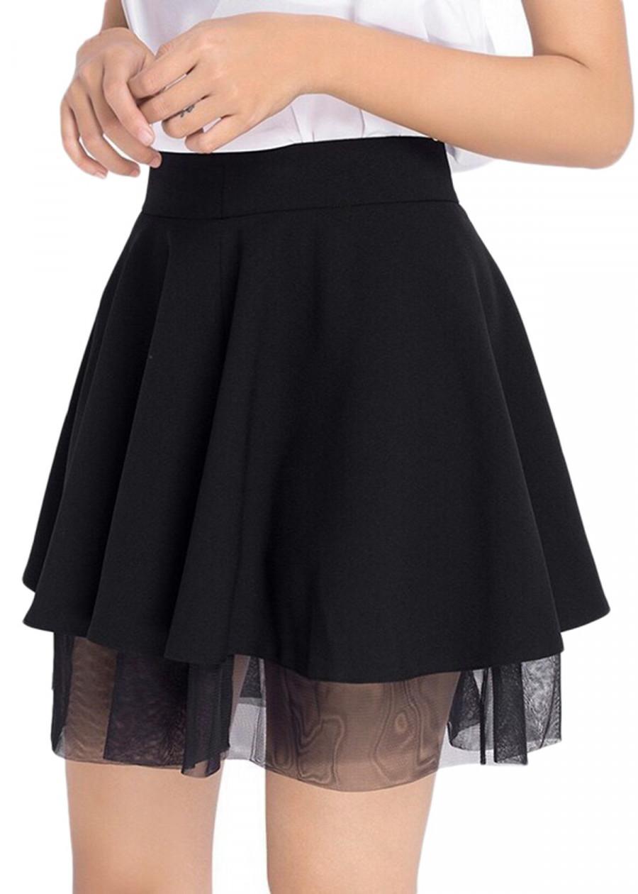 1070196028125 - Chân váy xòe phối ren chân