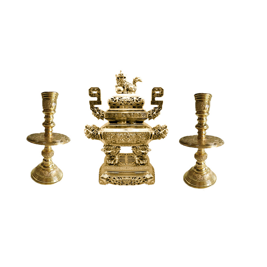Bộ tam sự vuông 3 món lư hương đỉnh đồng đồ thờ phụng Tâm Thành Phát