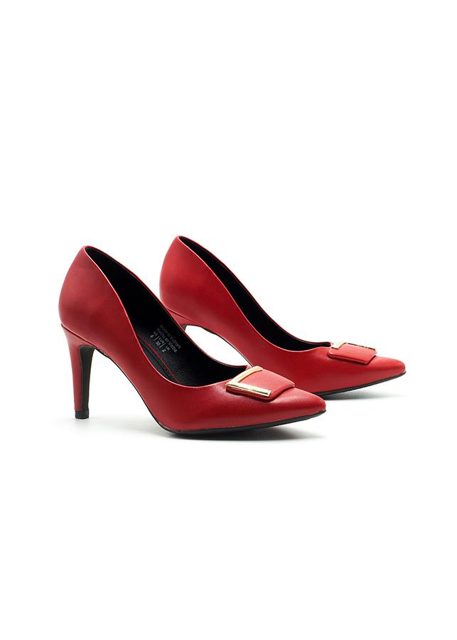 Giày Cao gót Lamanda 7cm Đính Khóa L Estella - Màu Đỏ