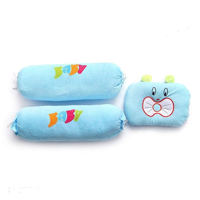 Bộ gối mèo baby xù cho bé màu xanh dương