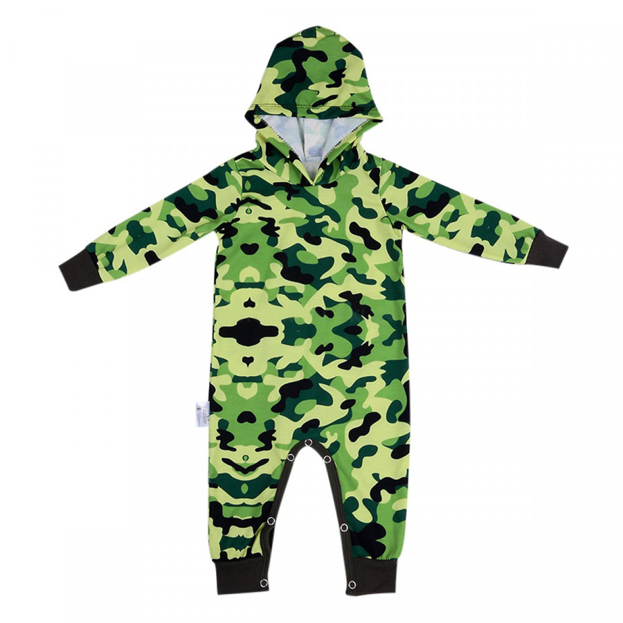 Bộ Bodysuit Dài Liền Nón Lính  Mihababy FULLBDS_ARMY