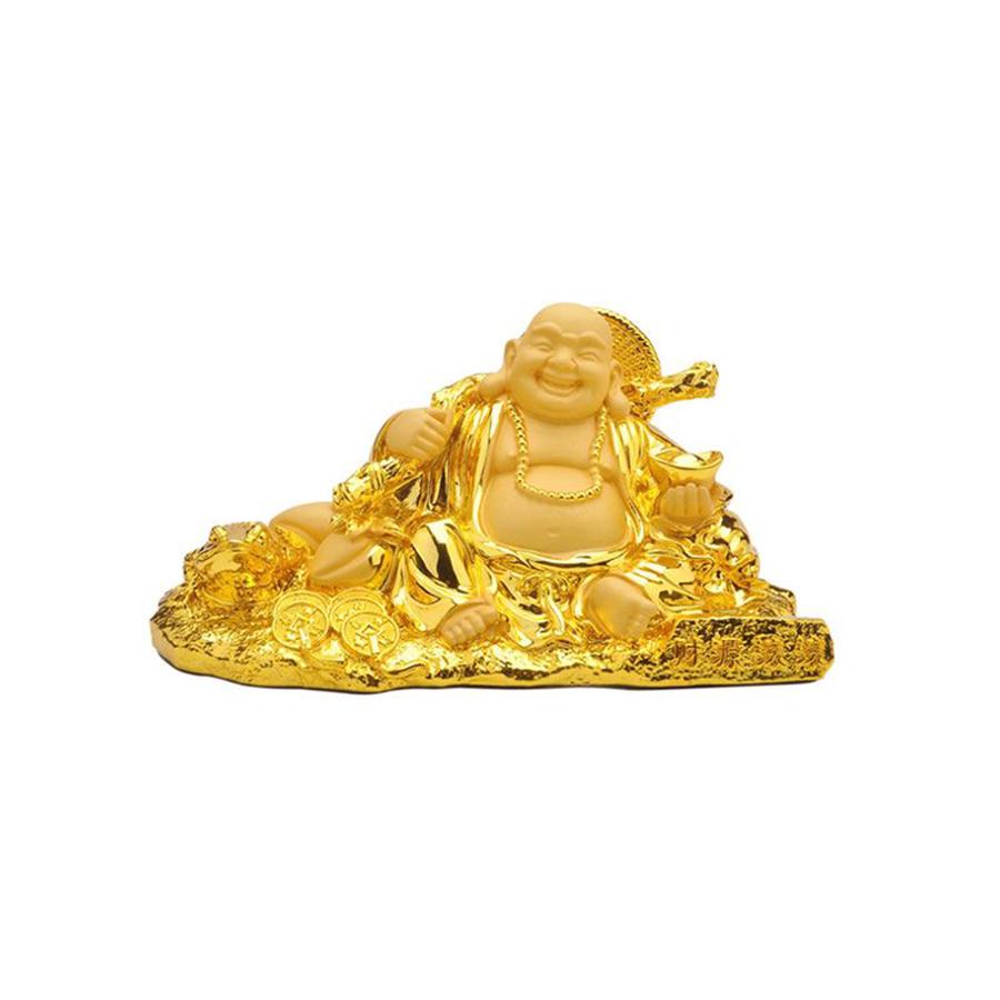 Tượng Phật Di Lặc Cầm Vàng trang trí trong xe ô tô
