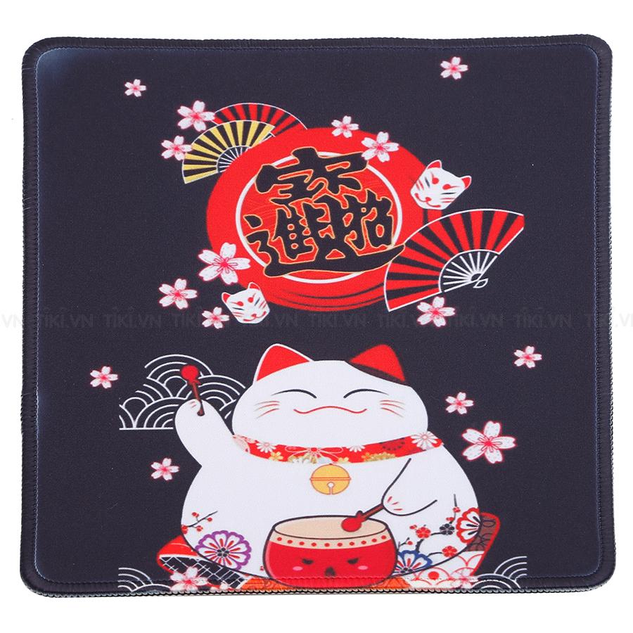 Miếng Lót Chuột Laptop Mèo Chiêu Tài Bo Viền  (24 x 20 cm)