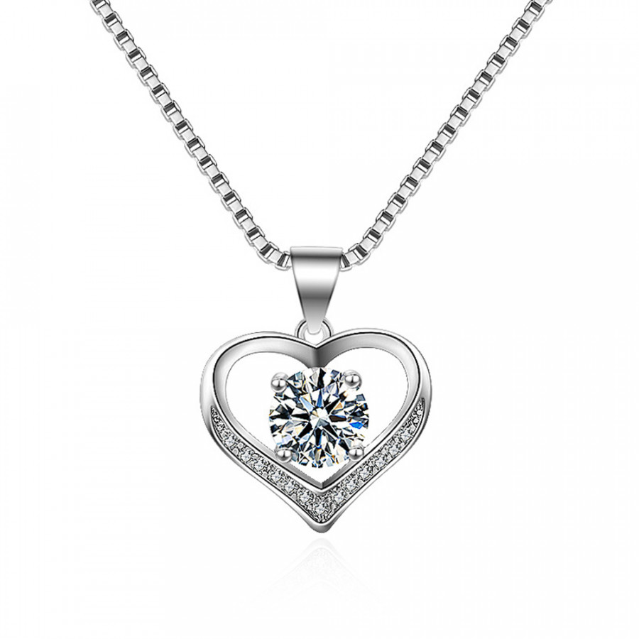 Heart Necklace Zircon Necklace Fashion Zircon Silvery Jewelry Party