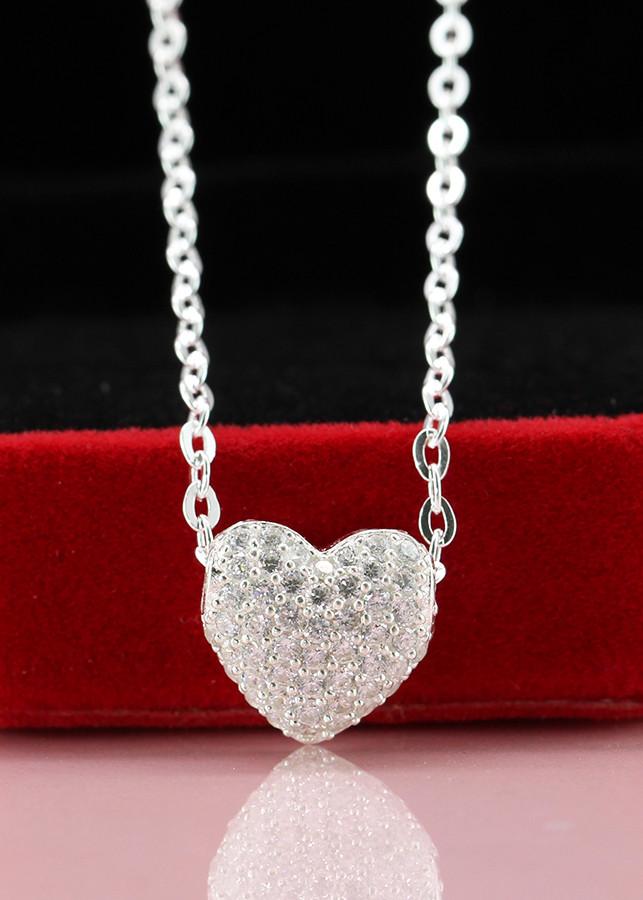 Dây chuyền bạc nữ mặt trái tim đính đá DCN0292