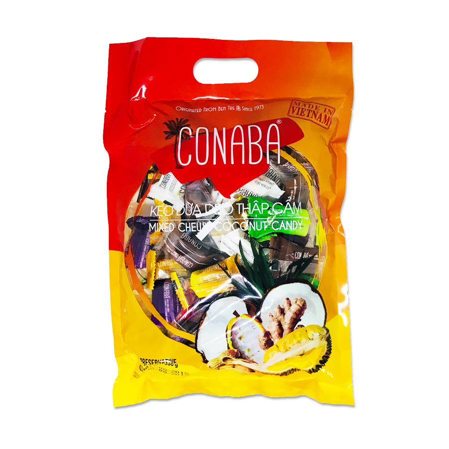 Combo 2 Gói Kẹo Dừa Dẻo Conaba Thập Cẩm (500g x 2)