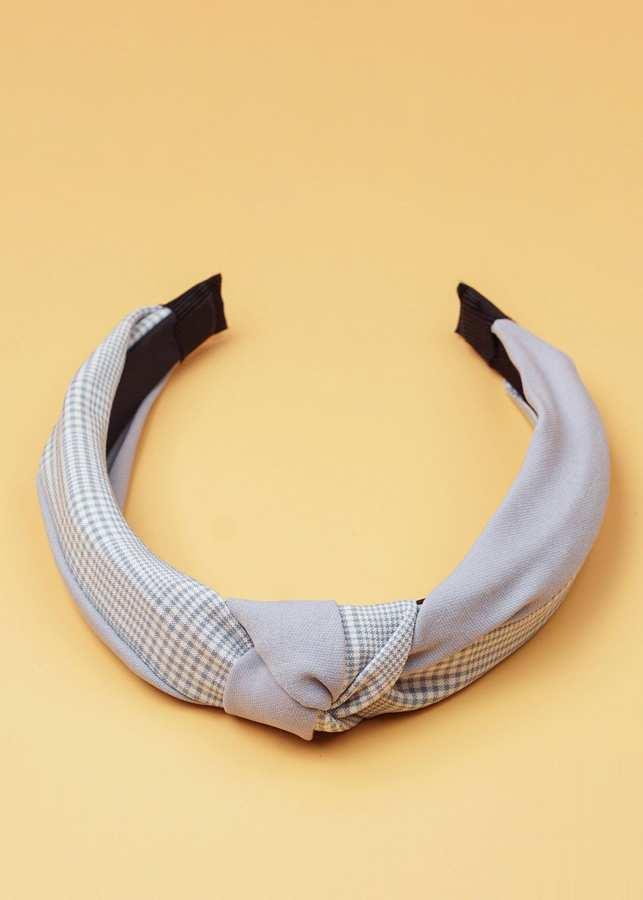 Cài Tóc Vải KaKi Phối Caro Màu Xám Sáng - Mã CT346
