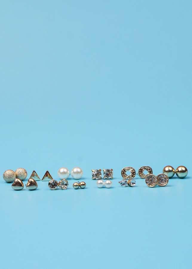 Bông Tai Set 12 Đôi Vòng Tròn Đính Đá, Ngọc Trai Mạ Vàng - Mã BT766