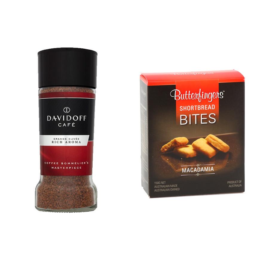 Combo Cà phê hòa tan Davidoff Café Rich Aroma (100g) và Bánh bơ hạt Macca Úc Butterfingers (150g)