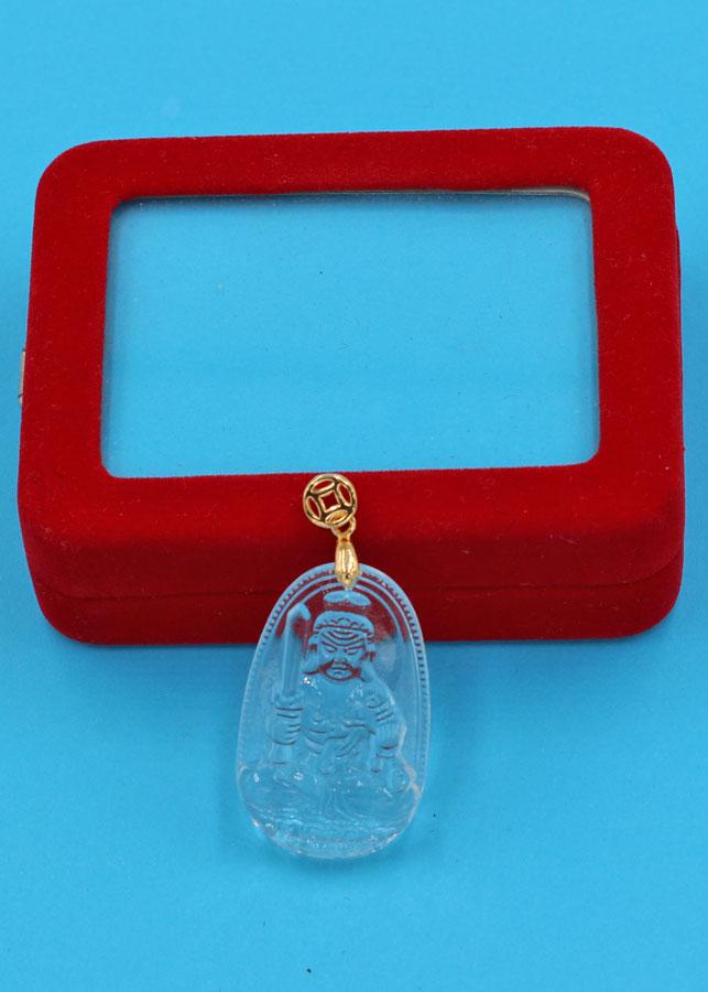 Mặt Phật Bất động minh vương thủy tinh trong 3.6cm MFBTT1 kèm hộp nhung - Hợp Mệnh Kim và Mệnh Thủy