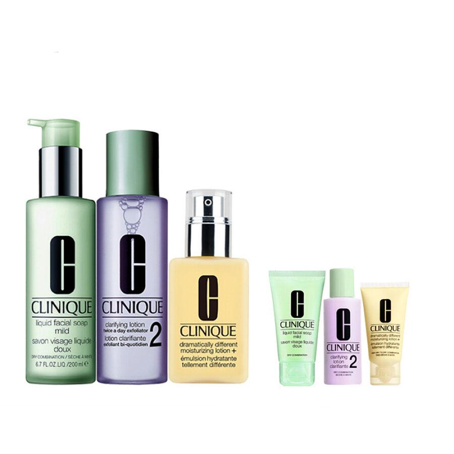 Clinique (CLINIQUE) classic three-step set (mild liquid soap 200ml + Ming muscle water 2nd 200ml + moisturizer 125ml + three-step 3 piece set...