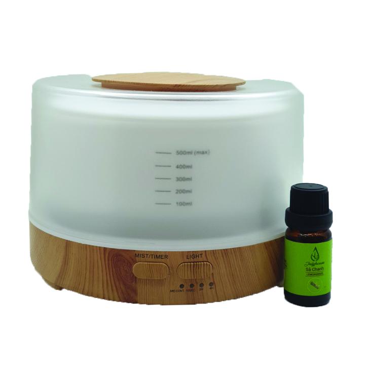 Máy khuếch tán tinh dầu hình trụ tròn đế gỗ siêu âm + Tặng tinh dầu sả chanh 10ml.