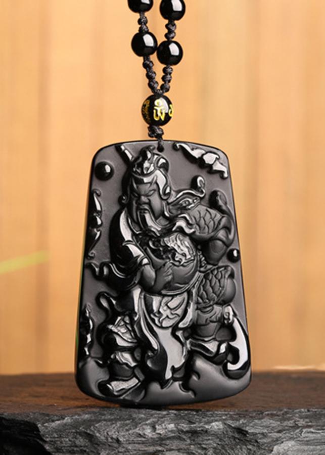 Mặt Dây Chuyền Quan Công Đá Obsidian Tự Nhiên