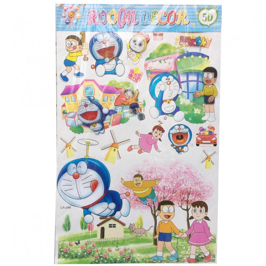 Tấm decal 3D (sticker) dán tường cho bé 60cm x 90cm chủ đề Đôremon