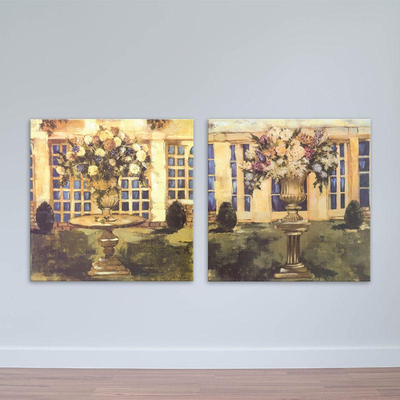 Bộ 2 tranh hoa lá in canvas – MDF phong cách sơn dầu – W1752