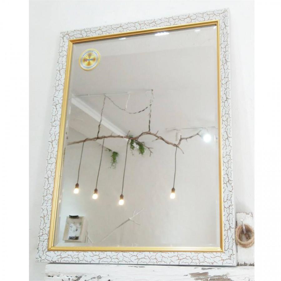 [KIBATH] Gương soi cao cấp khung viền trắng hoa văn KT 40x50 cm