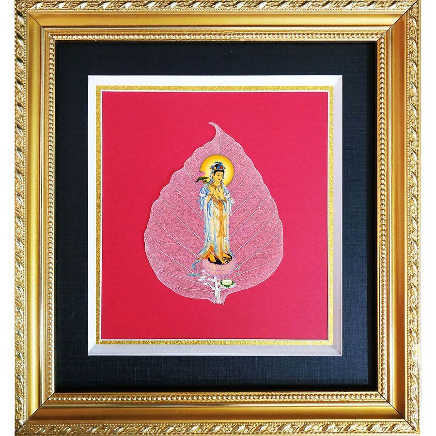 Tranh Hình Phật Quan Âm Trên Lá Bồ Đề HPB-2401