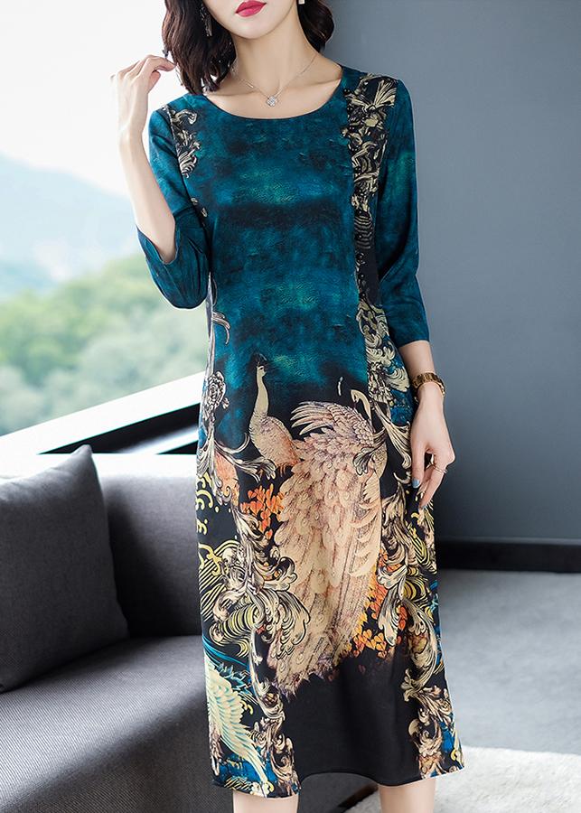 Đầm suông bigsize dạo phố kiểu đầm suông in họa tiết con công ROMI1648