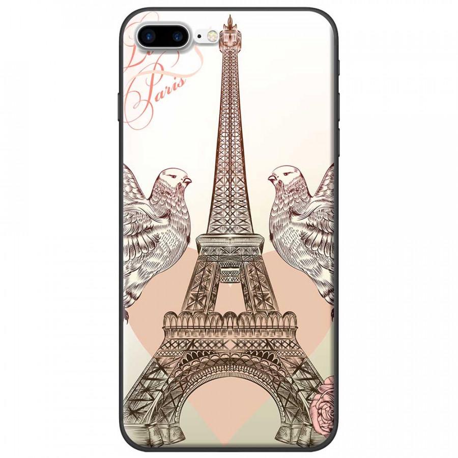 Ốp lưng dành cho iPhone 7 Plus mẫu Tháp Effiel bồ câu