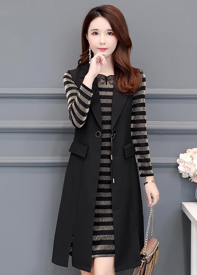 Đầm suông nhũ kim tuyến nữ kiểu đầm suông phối áo khoác vest D1426