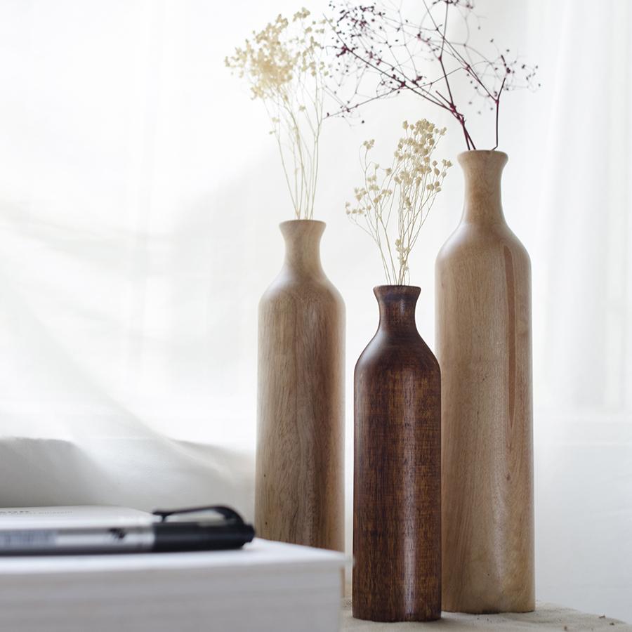 Bộ 3 lọ hoa gỗ hình trụ - lọ hoa gỗ thủ công, cắm hoa khô, hoa lụa