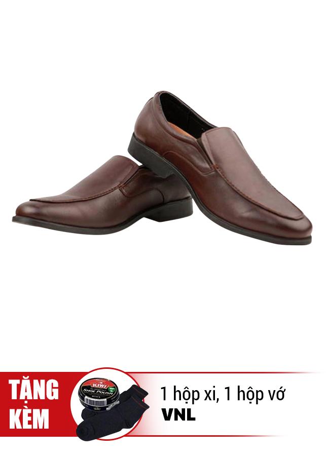Giày Tăng Chiều Cao Da Thật VNL VNL0ALZD00N- QTXV - Nâu + Tặng 1 Hộp Xi Và 1 Hộp Vớ