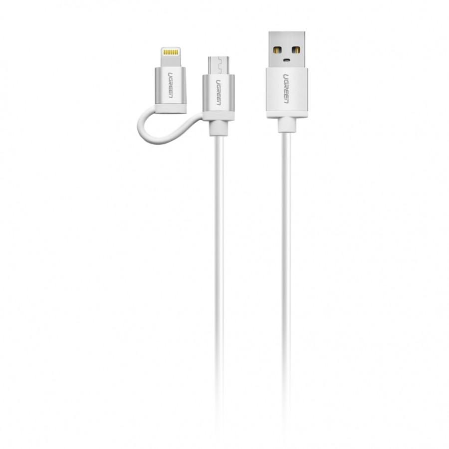 Cáp sạc điện thoại, smartphone 2 trong 1 Ugreen 20749 dài 1.5m chuẩn Micro USB và Lightning, sợi dây dầy, 3 đầu bọc...