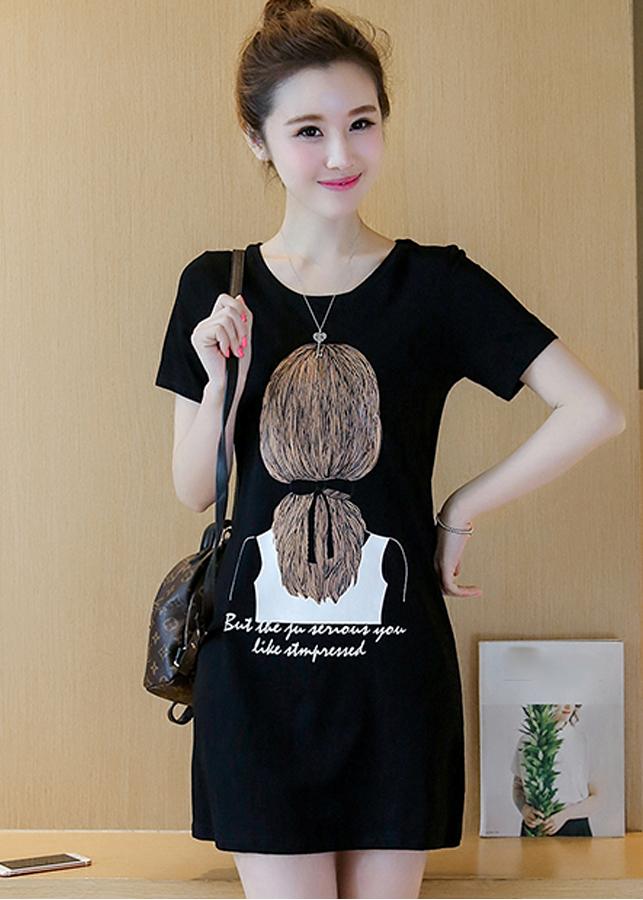Đầm thun suông hình mái tóc trước ngực 113