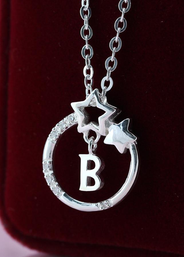 Dây chuyền bạc nữ mặt trăng sao khắc tên chữ B