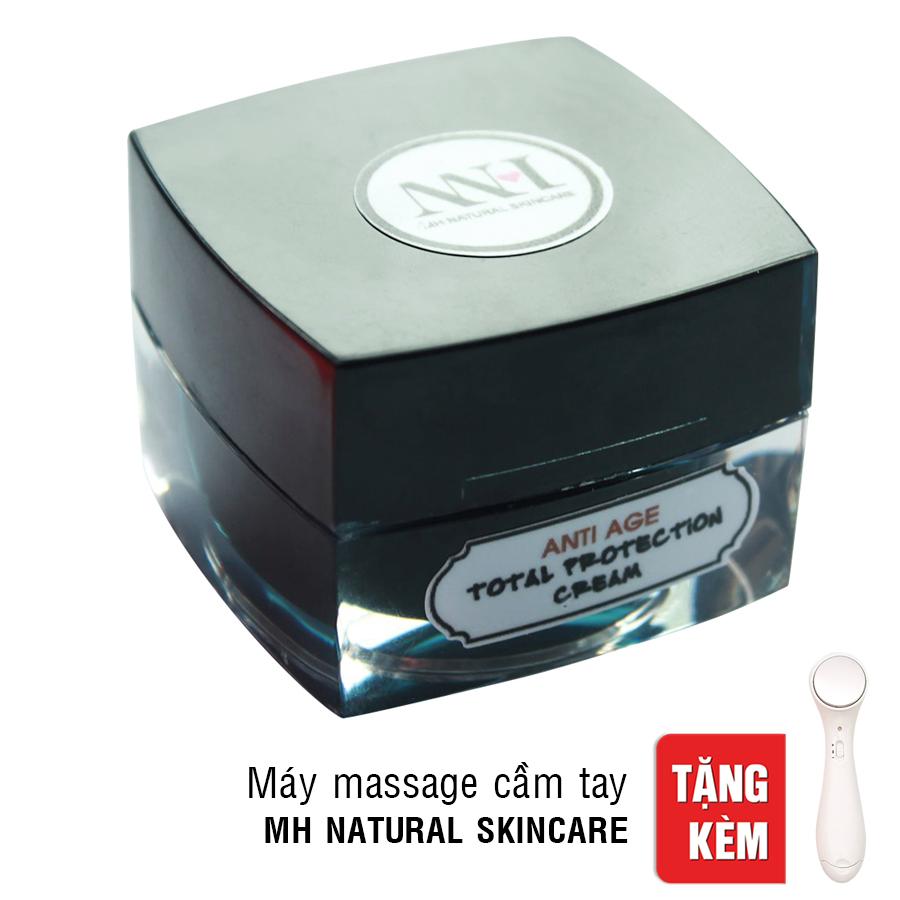 Kem Tan Mỡ Bọng Mắt Total Protection Cream Antiage MH Natural Skincare 028066 (10g) - Tặng Máy Massage Cầm Tay