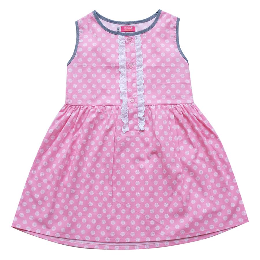 Đầm Xẻ Trụ In Trái Banh Nhỏ CucKeo Kids - T111823