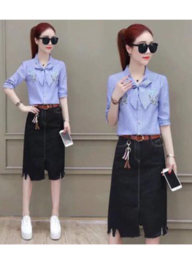 Áo Thêu Chân Váy Jean-S250108