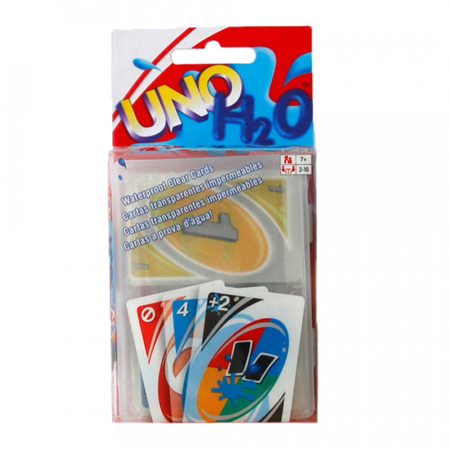 UNO H2O Game Playing Card Waterproof Clear Table Games Family Fun Toy