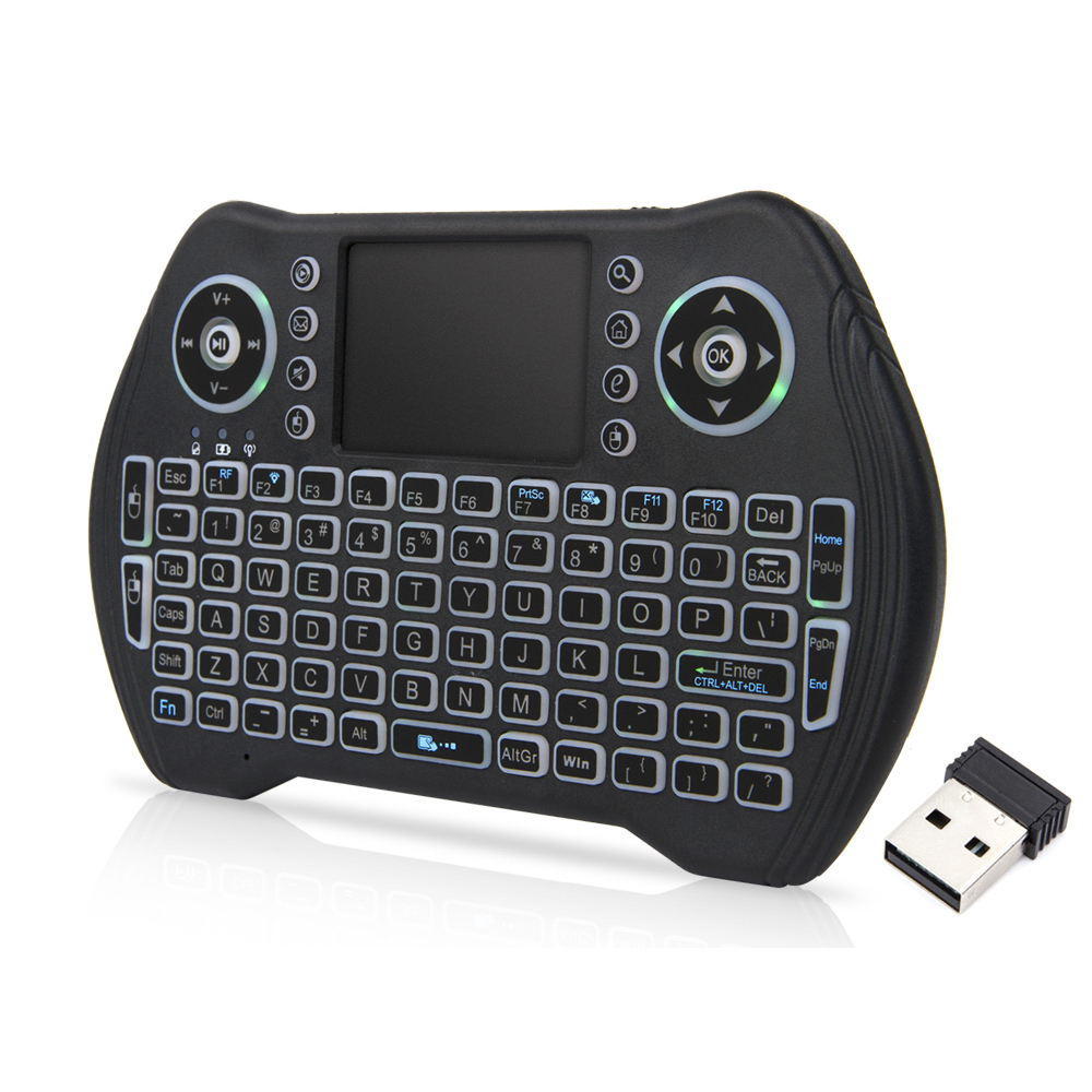 Backlit 2.4GHz Wireless Keyboard Touchpad Mouse Handheld Remote Control 3 Colors Backlight For Android TV BOX Smart TV - Black