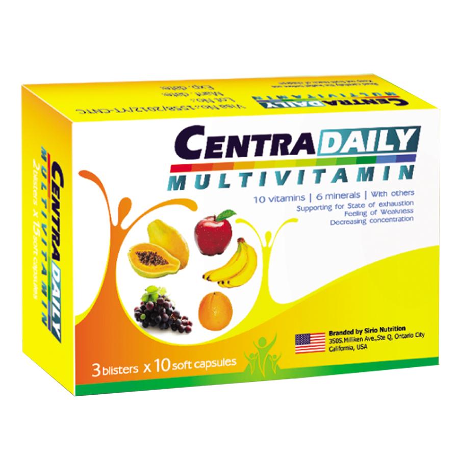 Combo 3 Hộp Thực Phẩm Bảo Vệ Sức Khỏe Bổ Sung Vitamin Và Khoáng Chất Tăng Cường Sức Khỏe Centra Daily Sirio Pharma...