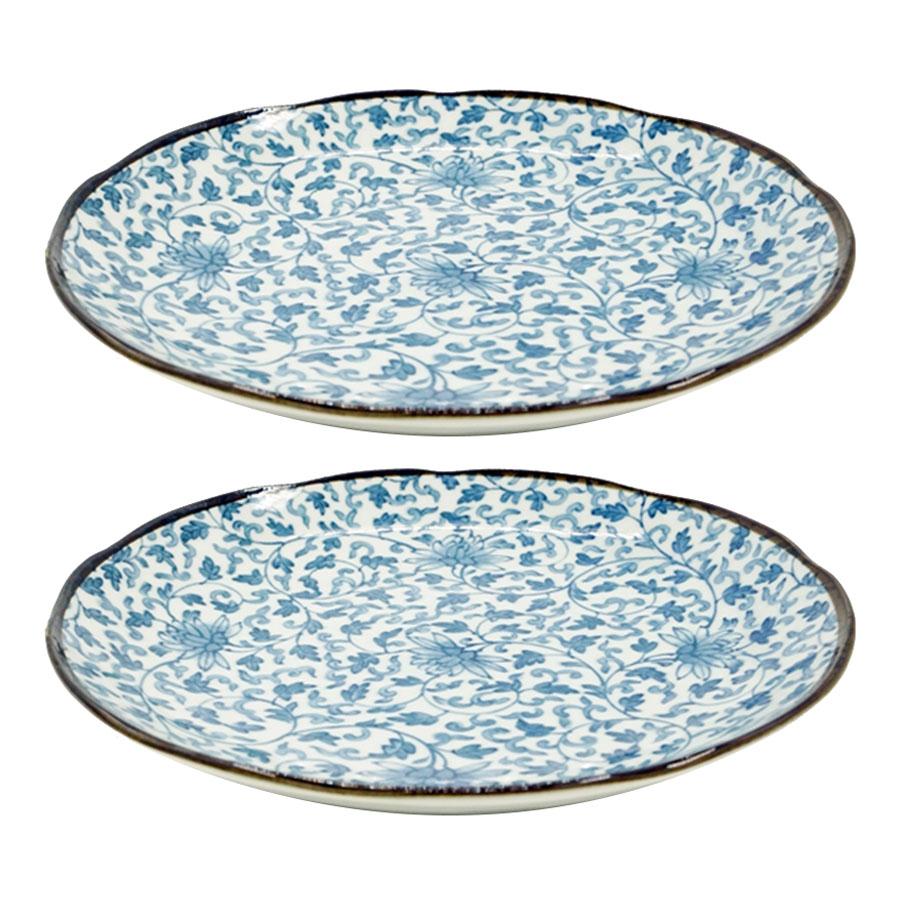 Combo 2 đĩa sứ ceramic họa tiết trang trí - Hàng Nội Địa Nhật