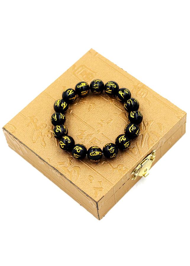 Vòng chuỗi thạch anh đen mạ vàng Phật chú 12 ly kèm hộp gỗ