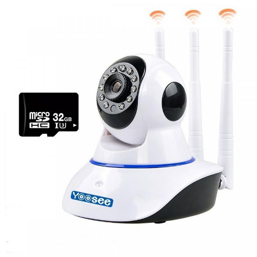 Camera Giám Sát Yoosee 3 Râu 1.0Mp/ 720p và Thẻ Nhớ Kingston 32Gb - Hàng Nhập Khẩu